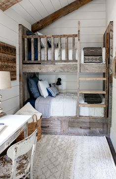 Tour our cozy guest cottage bunk room complete with reclaimed wood bunk beds. This small but beautiful space is the perfect hideaway for kid's! Bunk Bed Rooms, Bunk Beds With Stairs, Bunk Beds Small Room, Small Rooms, Bunk Bed Wall, Bunk Beds With Storage, Full Bunk Beds, Small Bathrooms, Bunk Bed Designs