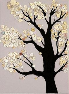 Trendy Diy Canvas Art For Kids Button Tree Button Art Projects, Button Crafts, Diy Arts And Crafts, Decor Crafts, Crafts For Seniors, Crafts For Kids, Button Tree Art, Button Art On Canvas, Tree Graphic