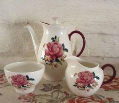 Wedgewood Barlaston Rose Coffee Set/ by MerryLegsandTiptoes