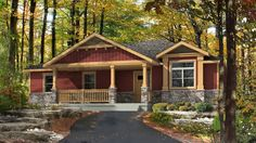Beaver Homes and Cottages - Cottonwood Bungalow House Plans, Craftsman House Plans, Small House Plans, Beaver Homes And Cottages, Mobile Home Porch, Exterior Rendering, Cabin Floor Plans, Home Design Plans, Next At Home