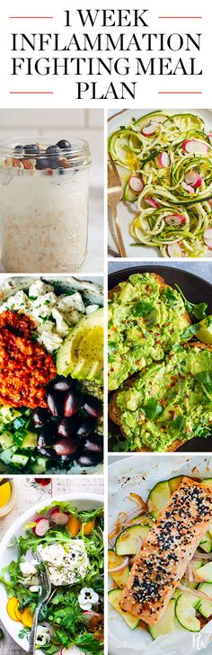 A Week's Worth of Anti-Inflammatory Recipes for Breakfast, Lunch and Dinner #antiinflammatory #inflammation #mealplan #cleaneating #eatclean #healthyfood #healthyrecipes #antiinflammatoryrecipes