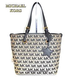 Michael Kors Signature Tote Bag Purse w/ Star Charm Black Beige NWT #MichaelKors #TotesShoppersShoulderBag