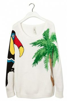 Crested Myna and Coconut Tree Print Sweater, $31.99