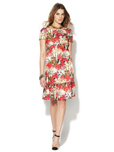 Satin Floral Gathered Dress by Love Moschino on Gilt.com