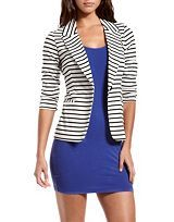 Blue dress and striped blazer: Charlotte Russe.