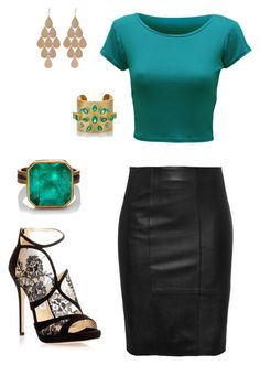 """night out"" by elvira-8390 ❤ liked on Polyvore featuring moda, WearAll, Jimmy Choo, Judy Geib y Irene Neuwirth"