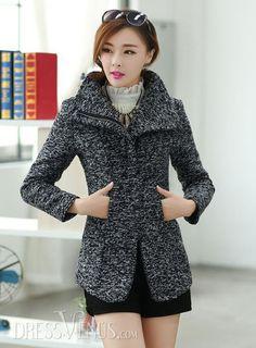 Comfortable Korean Style Slim Woolen Lapel Overcoat
