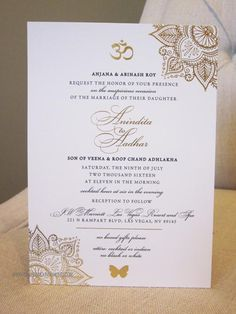 Beautiful design details make this Indian wedding invitation design elegant and stunning. Gold foil details accent the script on our 100 lb. matte white cardstock. (The OM can be changed to a Tamil OM symbol, if needed.) Choose from the RSVP option shown, or I can design an RSVP card that isnt a
