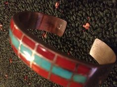 Signed Old Native American Sterling Coral & Turquoise Zuni Inlay Cuff Bracelet
