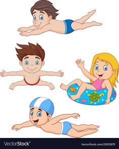 Collection of kids swimming collection set Vector Image Swimming Cartoon, Kids Swimming, Cartoon Images, Cartoon Kids, Drawing For Kids, Art For Kids, Crossfit Kids, Boy Character, Exercise For Kids