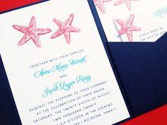 Wedding Invitation  ByTheSea Pocketfold by LittleSparkCreations
