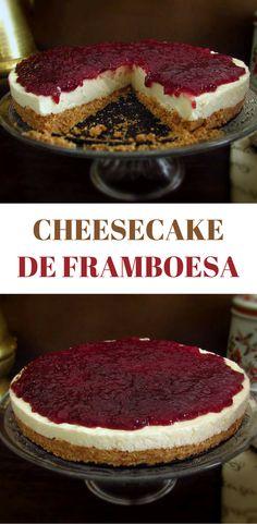 Cheesecake de framboesa | Food From Portugal. Uma deliciosa sobremesa de cheesecake de framboesa para uma ocasião especial. Todos vão gostar… #receita #cheesecake #framboesa
