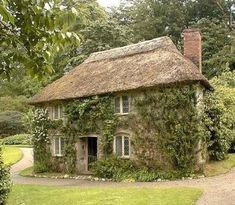 Cornish Cottage… love the ivy on the walls & the thatched roof Style Cottage, Cute Cottage, Cottage In The Woods, Cottage Living, Cottage Homes, Cottage Gardens, French Cottage, Living Room, Cottages Anglais