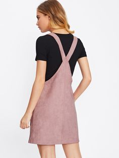 Shop Patch Pocket Front Suede Overall Dress online. SheIn offers Patch Pocket Front Suede Overall Dress & more to fit your fashionable needs. Slip Dress Outfit, Dress Outfits, Cute Outfits, Denim Pinafore, Pinafore Dress, Vestidos Jumper, Skirt Fashion, Fashion Outfits, Fashion Vocabulary
