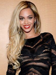 Dark skin: Beyonce's buttery blonde hair