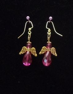 "2"" Angel Earrings, Faceted Glass, Various Colors, Gold Tone or Silver Tone Metal,FREE SHIPPING by CKDesignsForYou on Etsy"