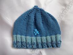 bonnet bébé bleu en coton satiné et son nounours bleu : Mode Bébé par bebelaine