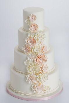 Romantic ruffle and pearl Wedding Cake!