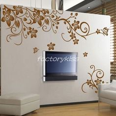 Removable Mural Decal Sticker Floral Flower Blowing Wall Art Decor Vinyl GBW