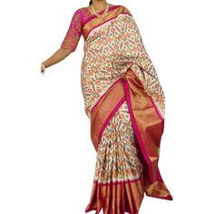 Pochampalli Silk Saree with Kanjeeveram border Phulkari Saree, Kasavu Saree, Silk Sarees, Saree Dress, Sari, Bandhini Saree, Velvet Saree, Pochampally Sarees, Indian Sarees