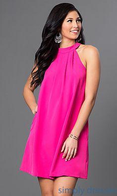 6380e3dcb Open-Shoulder Short Shift Dress with Pockets