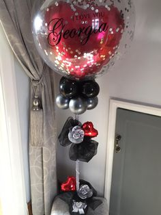 Personalised Valentines Day 'I love you' Bubble Balloon Gift Balloon Arrangements, Balloon Centerpieces, Balloon Decorations Party, Balloon Gift, Balloon Ideas, Balloon Arch, Balloons And More, Bubble Balloons, Valentines Balloons
