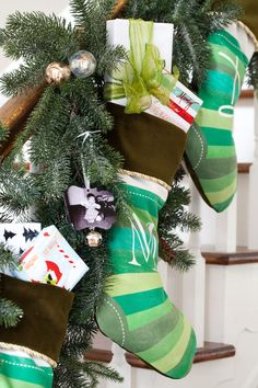 No fireplace mantel for hanging Christmas stockings each year? No worries - here are a few places you can hang them that Santa will find and fill with lots of gifts and goodies } In My Own Style Tree Collar Christmas, Christmas Tree In Basket, Tabletop Christmas Tree, Christmas Tree Garland, Winter Christmas, Christmas Time, Christmas Stockings, Christmas Ideas, Holiday Fun