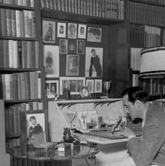 Basil Rathbone at home in his library.