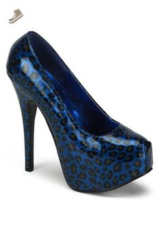 Pleaser Women's Teeze-37 Platform Pump,Blue Cheetah Patent,11 M US - Pleaser pumps for women (*Amazon Partner-Link)
