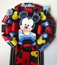 Mickey Mouse baby shower corsage by ModernMumsCollection on Etsy Baby Shower Mum, Mickey Mouse Baby Shower, Baby Mouse, Baby Shower Favors, Baby Shower Games, Baby Shower Parties, Baby Shower Decorations, Shower Party, Beautiful Baby Shower