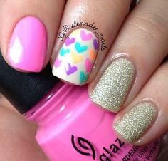 Cute neon heart nail art mani