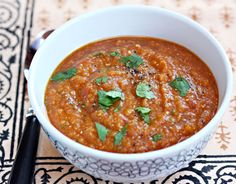 Chipotle Red Lentil and Tomato Soup (slow cooker or stove top) @Lydia (The Perfect Pantry)