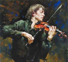 "perfact  handpainted oil painting on canvas""the man playing the violin ""a1322 #Realism"