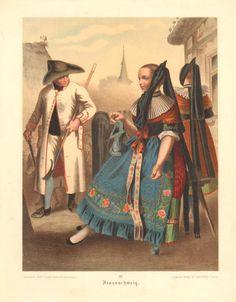 """""""German folk costumes"""" by Albert Kretschmer. Printed between 1887 to 1890"""