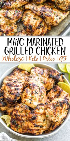 This easy mayo marinated grilled chicken thighs recipe is such a tasty way to grill an easy weeknight dinner or use for a meal prep recipe! This is the best mayo chicken marinade, and leaves the chicken so juicy and full of flavor. This is also a paleo, low carb, Whole30 chicken recipe so everyone in the family can enjoy it! With only a few simple ingredients and under 20 minutes, this will be your new go-to way to grill thighs. #whole30grill #mayomarinade #mayochicken #chickenmarinade