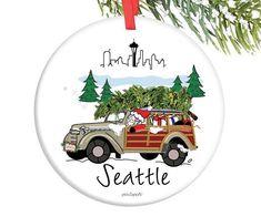 Santa in the City - Seattle Ornament - 5