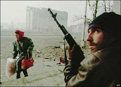 During Russia's war in Chechnya in the 1990's. Chechen rebel takes position to defend the city.