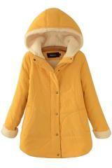 Lamb Wool Hooded Long Sleeve Winter Coat