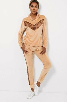 Beige Side Stripe Velour Tracksuit Lounge Sets Joggers Hoody Gym Yoga 8 10 12 14 #Unbranded Hoody, Online Price, Joggers, Lounge, Beige, Yoga, Gym, Retro, Best Deals