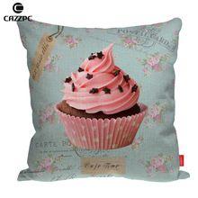 Rosa deliciosos bolinhos de impressão personalizado carro de linho sofá cadeira decorativas lance fronha capa de almofada Home Decor()