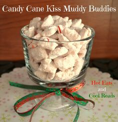 Candy Cane Kiss Muddy Buddies from Hot Eats and Cool Reads! This recipe for Candy Cane Kiss Muddy Buddies was a hit! It's SO stinkin easy and wonderful for any holiday celebration.