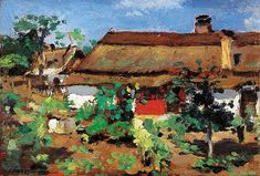 Courtyard in Szolnok, early by Adolf Fényes City Art, Budapest, Auction, Modern, Art Ideas, Landscapes, Paintings, Artists, Things To Sell