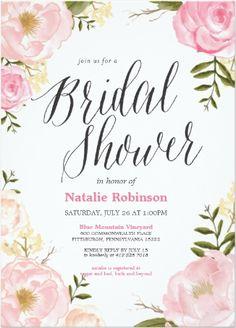 pretty pink rose garden bridal shower invitation