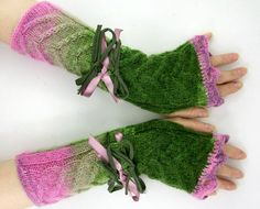 Knit fingerless gloves woodland green pink  knit arm by piabarile, $31.00