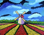 Tulip Fields Paintings - German Tulip Field by Sebastian Pierre Art Drawings For Kids, Drawings With Meaning, Art For Kids, Tulip Fields, Windmill Art, 7th Grade Art, Perspective Art, Easy Art Projects, Building Art
