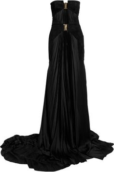 Balmain Suede and Satin Gown - Lyst