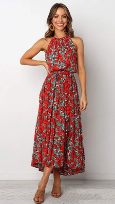 Boho Maxi Floral Dress Summer Ladies Sleeveless Halter Neck Casual Holiday Party Long Flower Dress, S Vacation Dresses, Midi Summer Dresses, Spring Dresses Casual, Women's Dresses, Best Casual Dresses, Floral Spring Dresses, Halter Dress Summer, Floral Dress Outfits, Bohemian Summer Dresses