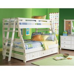 Shop for a Creekside White Wash Twin Full Bunk Bedroom at Rooms To Go Kids. Find that will look great in your home and complement the rest of your furniture. Bunk Beds Small Room, White Bunk Beds, Kids Bunk Beds, Small Rooms, Green Bedroom Walls, Bedroom Wall Colors, Green Walls, Bedroom Furniture Stores, Kids Room Furniture