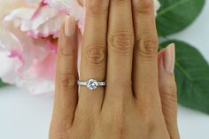 1.25 ctw Solitaire Ring Accented Engagement Ring by TigerGemstones
