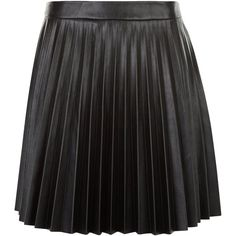 New Look Petite Black Leather-Look Pleated Skirt ($33) ❤ liked on Polyvore featuring skirts, black, faux leather mini skirt, imitation leather skirt, mini skirt, petite skirts and vegan leather mini skirt